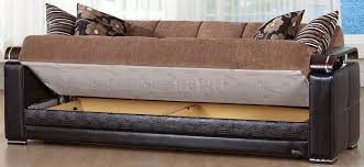 ekol yuky convertible sofa in brown fabric leather by sunset