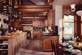 kitchen exposed log beam ceiling also overhead cast iron pot rack