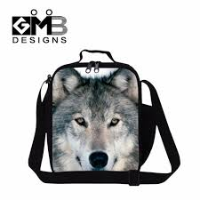 wolf printed cool lunch bags for kids small insulated bag for boys