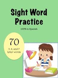 spanish sight word worksheets 70 5 6 and 7 letter words tpt