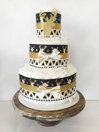 aztec diaper cake in gold black and white tribal baby shower