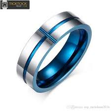 the goods wedding band tungsten steel ring stylish minimalist blue groove cross ring
