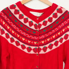 strawberry sweater eagles eye strawberry cardigan sweater m buttons womens knit