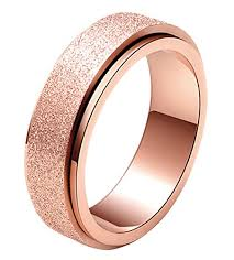 worry ring alextina women s 6mm stainless steel ring spinner band sand blast