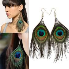 bohemia peacock feather earrings retro dangle drop earring women