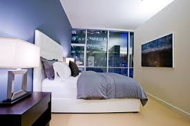 Contemporary Blue Bedroom - awe inspiring white leather headboard decorating ideas images in
