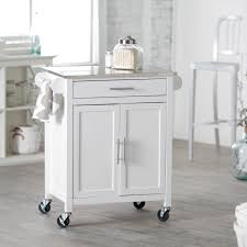 small kitchen island white finish with silver countertop and wheel