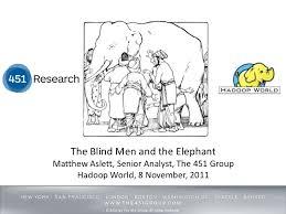Blind Man And Elephant Hadoop World 2011 The Blind Men And The Elephant Matthew Aslett U2026