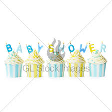 cupcakes for a baby shower gl stock images