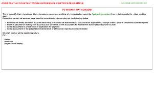 Sample Resume For Junior Accountant by Assistant Accountant Work Experience Certificate