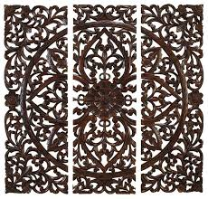 carved wooden wall pictures set of 3 carved wood wall panels floral home decor traditional