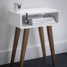 simple white solid wood nightstand with unpolished walnut wood