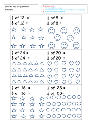 find half and quarters of shapes worksheets by ruthbentham