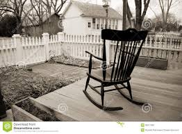 Rocking Chair Drawing Plan Old Rocking Chair On Wooden Porch With White Picket Fence Stock