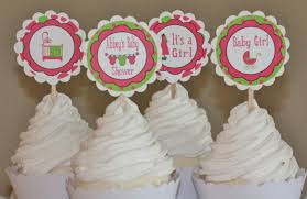 12 pink and lime green baby shower theme cupcake or