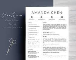 Clean Resume Template Word Clean Resume Etsy