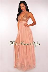 miami styles bronze sequins crisscross mesh maxi dress