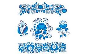 russian ornaments gzhel style painted with blue flower