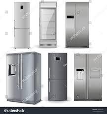 refrigerators with glass doors refrigerators set silver fridge two doors stock vector 260084495