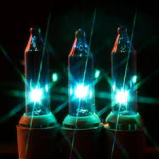 teal mini light strings on green wire 100 bulbs