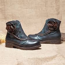 zipper boots s socofy s handmade ankle leather boots comfy floral zipper