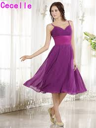 purple dresses for weddings knee length purple bridesmaid dresses with straps a line knee length