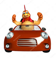 fun chicken cartoon character with car u2014 stock photo