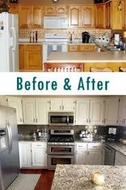 kitchen remodel painted oak cabinets before after white cabinets