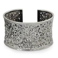 antique sterling silver cuff bracelet images Shop antique asian lace look elaborate floral filigree repousse jpg