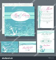 wedding invitation card anchor blue colors stock vector 416625688
