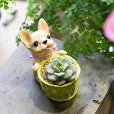 Cute Flower Pots Aliexpress Com Buy Cute Small Decorative French Dog Resin Cactus