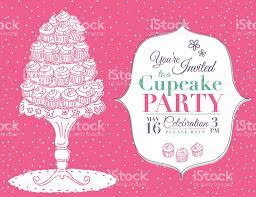 cartoon cupcake party invitation template pink stock vector art