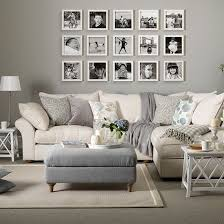 Cheap Living Room Furniture Uk Grey And Taupe Living Room With Photo Display Living Room