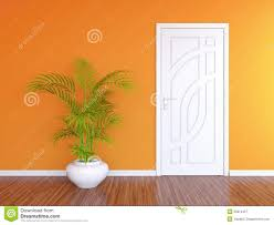 Orange Bedroom Walls White Door And Orange Wall Royalty Free Stock Photography Image