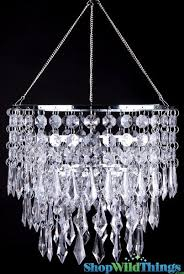 Chandelier With Black Shade And Crystal Drops Wedding Chandeliers Event Lights Shopwildthings