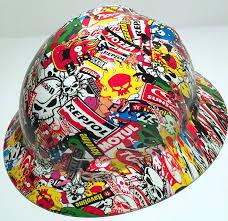 hoonigan sticker bomb armor custom hard hats sticker bomb full brim hard hat amazon com