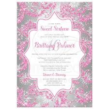 sweet 16 birthday invitation winter wonderland ice pink faux