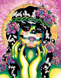 day of the dead pin up with sugar skull tattoos