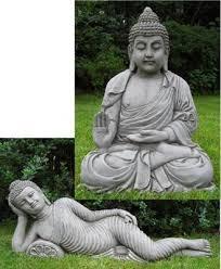 set of 2 cast buddha garden ornaments statues
