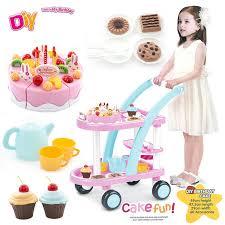 jeux enfants cuisine 60 pcs enfants cuisine jouets gâteau d anniversaire chariots jouets