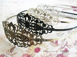 metal headbands 2 vintage filigree antique brass blank metal headbands 35x78mm