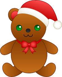 christmas teddy bear with santa hat free clip art