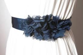Flower Belts - bridal navy blue chiffon flower sash belt wedding dress