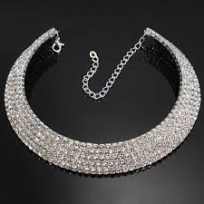 rhinestone collar necklace images Shinny full crystal rhinestone collar choker necklace silver us JPG