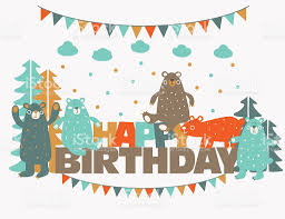 happy birthday lovely card with funny cute bears in forest stock