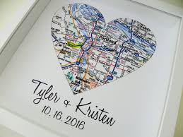 Wedding Gift Ideas Second Marriage Wedding Gifts Personalized Map Art Heart Map Framed Print Any