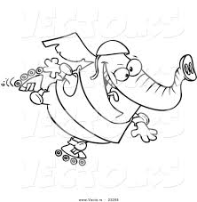cartoon vector of cartoon roller blading elephant coloring page