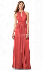 halter bridesmaid dresses watermelon chiffon a line halter floor length bridesmaid dresses