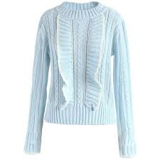 light blue cable knit sweater chicwish enjoyable moment ruffle cable knit sweater in light blue