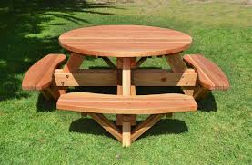 Free Plans For Building A Picnic Table by Round Wooden Picnic Table With Attached Benches